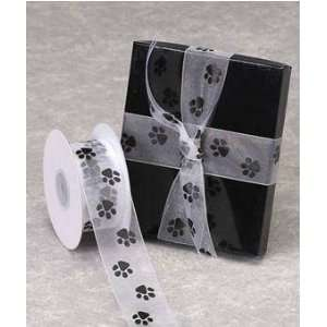 Sheer White Organza Ribbon with Black Paw Prints 1 1/2 X