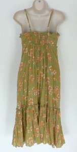 LUCKY BRAND Green Orange Floral Dress Small S Hippie Boho