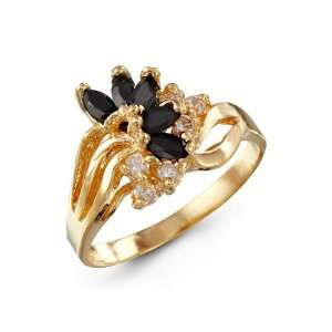 New Womens Black White CZ 14k Yellow Gold Fashion Ring Jewelry