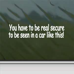 Secure White Sticker Funny Car Laptop Vinyl Window White