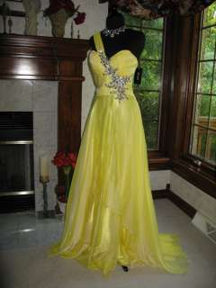 Jovani 111042 Yellow Chiffon Lustrous Pageant Gown Dress 10