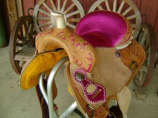 15 METALLIC PINK WESTERN BARREL RACER RACING SHOW SADDLE HAND PAINTED