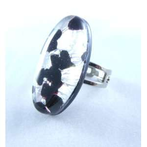 Black Silver Oval Venetian Murano Glass Adjustable Ring Jewelry