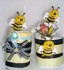 BUMBLE BEE BABY DIAPER CUPCAKES SHOWER GIFT TOPPER CAKE