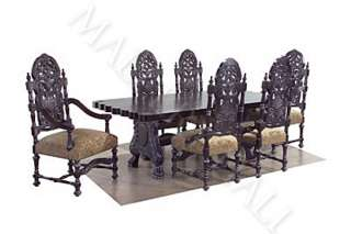 Black Granite Oval Dining Table Barley Twist Legs