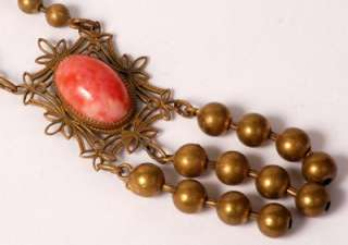 Vintage Czech Art Deco Brass Filigree Coral Colored Art Glass Festoon