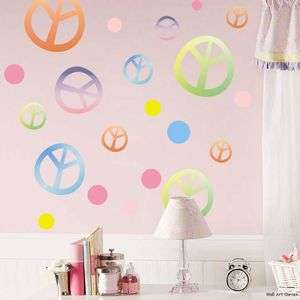 Peace Signs Polka Dots Girls Dorm Wall Sticker Decals