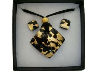 BLACK GOLD AUTHENTIC VENETIAN MURANO GLASS NECKLACE EARRINGS JEWELRY