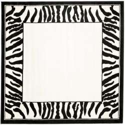 Collection Zebra Border Black/ White Rug (6 Square)