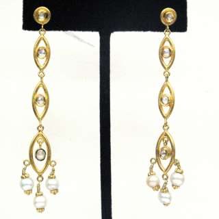 GOLD PAVE DIAMOND EARRING VINTAGE STYLE WEDDING DANGLE JEWELRY
