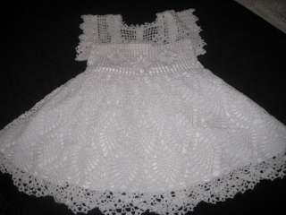 HANDMADE CROCHETED PINEAPPLE BABY GIRL HEIRLOOM CHRISTENING DRESS