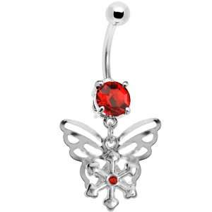 Ruby Red Gem Encompass Butterfly Belly Ring Jewelry