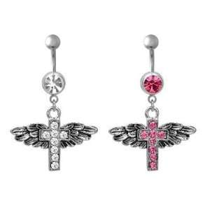 316L Surgical Steel Cross with Wings Belly Ring with Pink