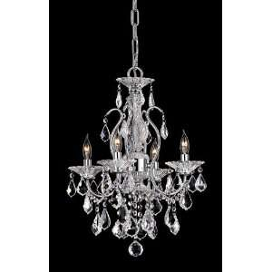 Lead Crystal Fire Ice Mini Chandelier 4Lt Chrome