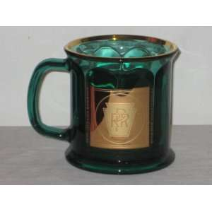 Emerald Green Glass Mug w/ 22 Karat Gold Logo & Trim