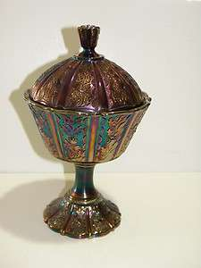 Vintage Fenton Carnival Glass Candy Dish with lid