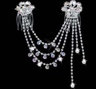 BRIDAL bridesmaid AB CRYSTAL RHINESTONE HAIR PINS COMB ZA728
