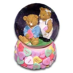 Adorable Snowglobe with Loving Teddy Bear Couple with 18