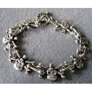 Mens Cool Alloy Metal Skulls Skeleton Beads Bracelet