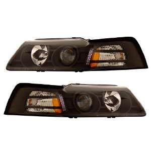 FORD MUSTANG 99 04 PROJECTOR HEADLIGHT BLACK CLEAR AMBER