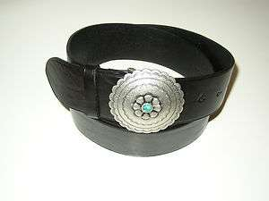 NEW Ralph Lauren Womens Saddle Black Leather Silver Tone Concho Belt