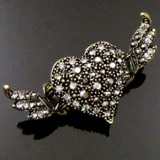 SHIPPING 1pc Rhinestone crystal antiqued heart crab hair claw