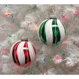 2 Festive Red & Green Candy Stripe Glass Ball Christmas