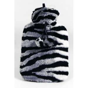 Hot Water Bottle with Luxury Faux Fur Cover   Zebra Print