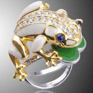 Party Jewelry Clear Crystal Blue Eyes Frog Gold GP Ring KSR005