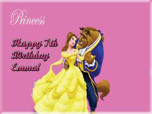 DISNEY PRINCESS BELLE Edible CAKE Icing Image birthday