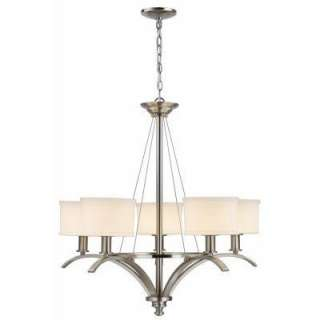 Mayport Collection 5 Light Hanging Brushed Nickel Chandelier