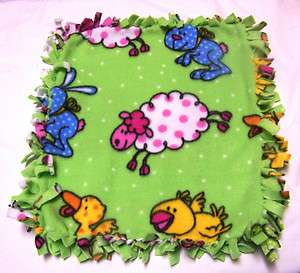 MINI FLEECE TIED SECURITY BLANKET   FARM / BARNYARD ANIMALS