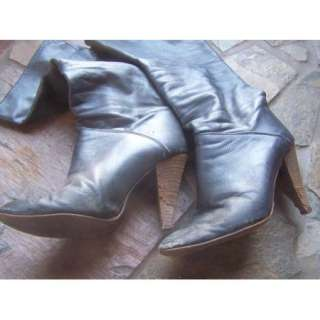 Well Worn Very Used Tall Blue Trashed High Heel Italian Dancing Boots