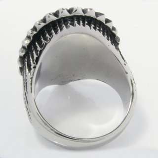 Heavy Stainless Steel Biker Mens Ring Indian Face 1CR