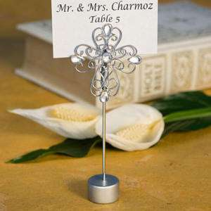 NEW 100 Decorative Cross Wedding Place Card Holders