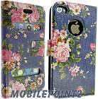 iPhone 4 g 4S Beautiful Floral Print Leather Case Cover Flip Diary