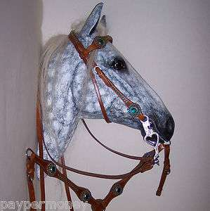 TEAL RHINESTONE BLING BRIDLE HEADSTALL CHESTNUT REIN BREAST COLLAR SET