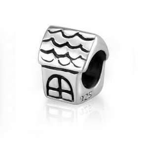 Sterling Silver Cute House Bead Charm Fits Pandora Bracelet Jewelry