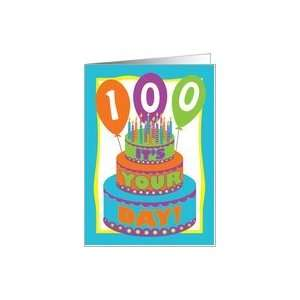 Happy100th Birthday, Colorful Cake Candles and Balloons