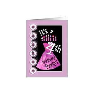 Girls 4th Birthday Party   Pink Dress and Candles Card Toys & Games