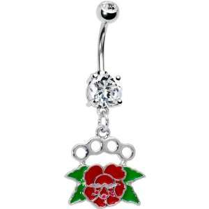 Red Rose Brass Knuckle Belly Ring Jewelry