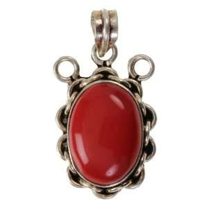 German Silver Pendant with Red Coral  UMG