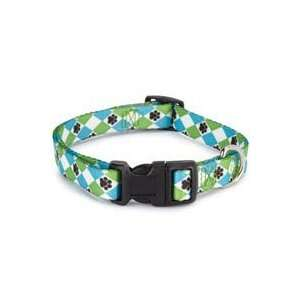Casual Canine Pooch Patterns Blue Argyle Nylon Dog Collar