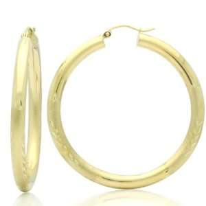 Rond Diamond Cut & Satin Accents Yellow Gold Hoop Earrings Jewelry