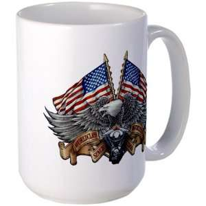 Large Mug Coffee Drink Cup Eagle American Flag and Motorcycle Engine
