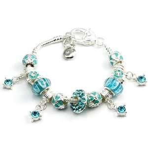 Zirconia Charm with Blue Murano Glass Beads Charm Bracelet Jewelry