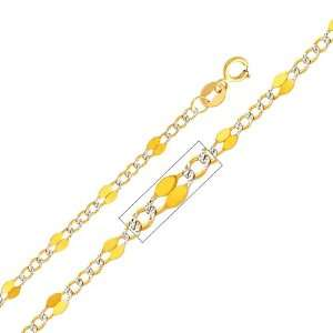 Yellow and White 2 Two Tone Gold 3.2mm Stamped Figaro White Pave Chain