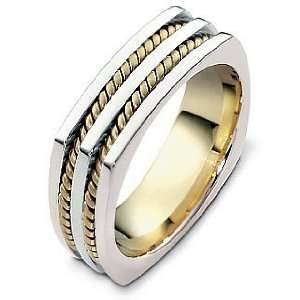 18 Karat Two Tone Gold Square Rope Style Wedding Band Ring   7.75