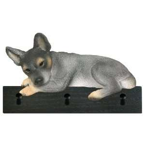 Cattle blue Dog Figurine Key Ring and Leash Holder Gift