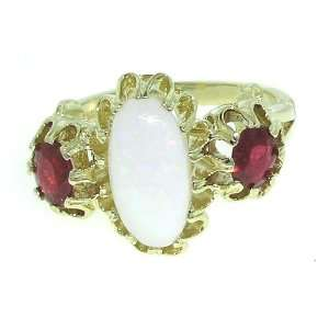 Luxury Solid White Gold Natural Opal & Ruby Victorian Inspired Ring